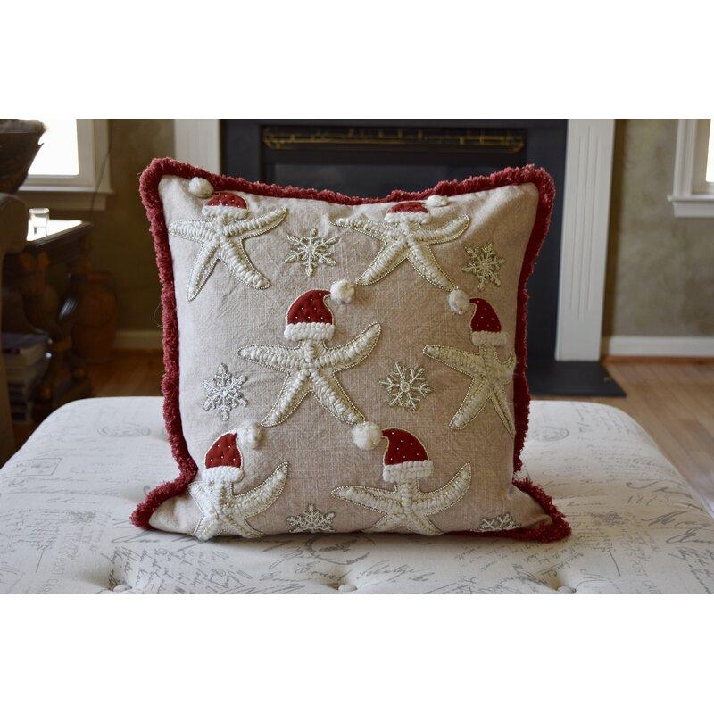 The Holiday Aisle Egham Multi Starfish Santa S Hat Square Pillow Cover Insert Wayfair