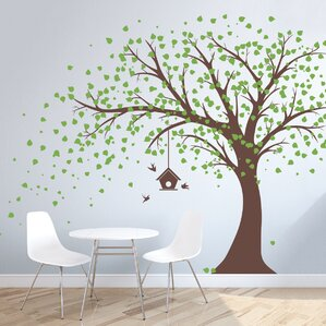 Large Windy Tree With Birdhouse Wall Decal Part 40