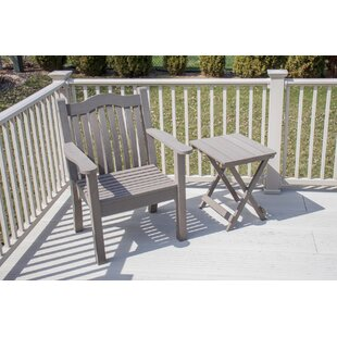 Rosecliff Heights Esquivel Ironwood Modern Adirondack Chair with Table