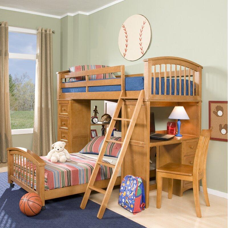 Harriet Bee Javin Student Loft Bed With Twin Lower Bed Wayfair