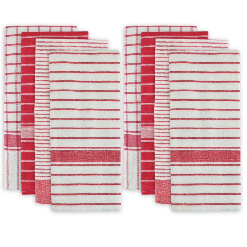 Christmas dishtowel set. Red and white stripes! 8 Piece Cotton Dishtowel Set. #dishtowels #christmasdecor #holidaydecor #stripes #windowpane #plaid #redandwhite