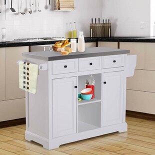 Highland Dunes Sallie Kitchen Cart with Stainless Steel Top