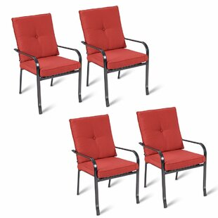 Shirebrook Patio Dining Chairs With Cushion (Set Of 4) by Fleur De Lis Living Best Choices