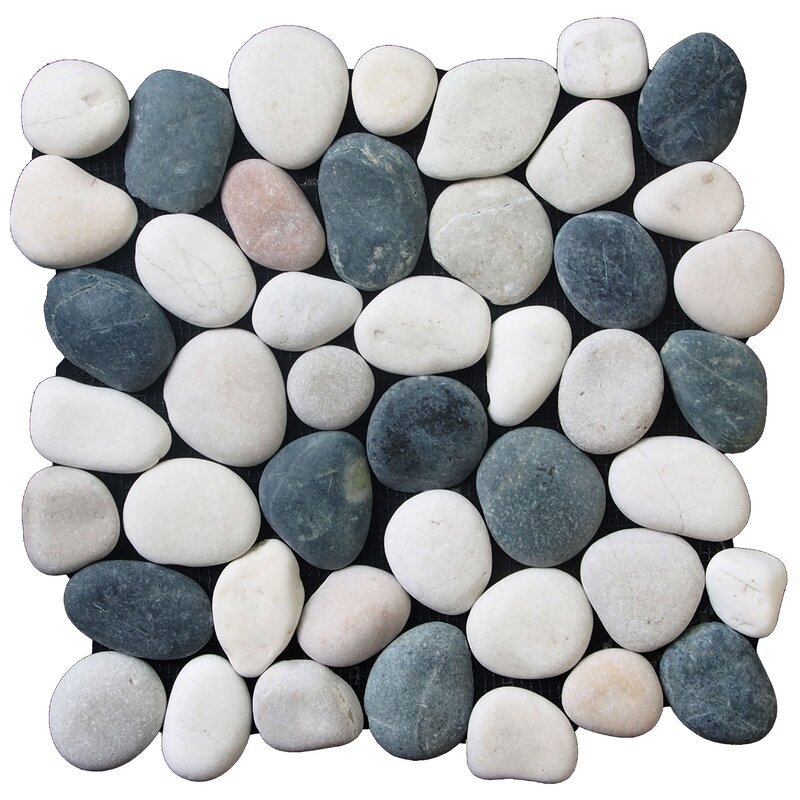 classic pebble random sized natural stone pebble tile in black white