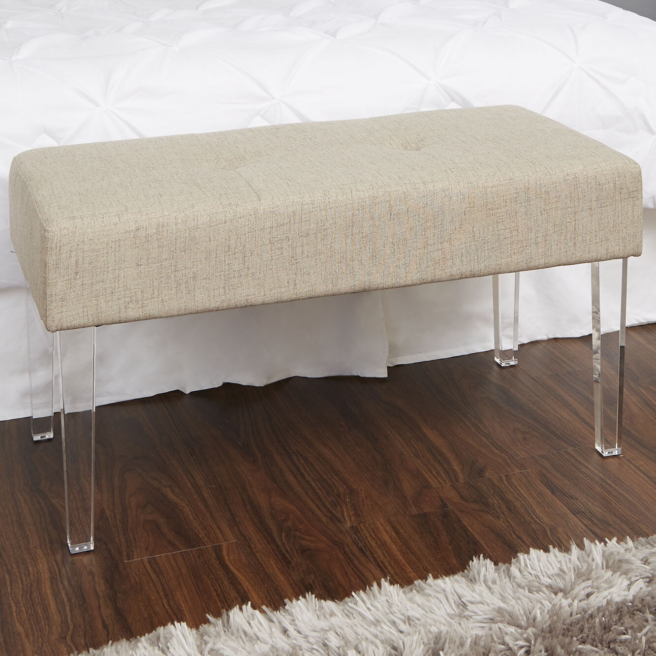Ivy bronx amey acrylic leg rectangular upholstered bench wayfair