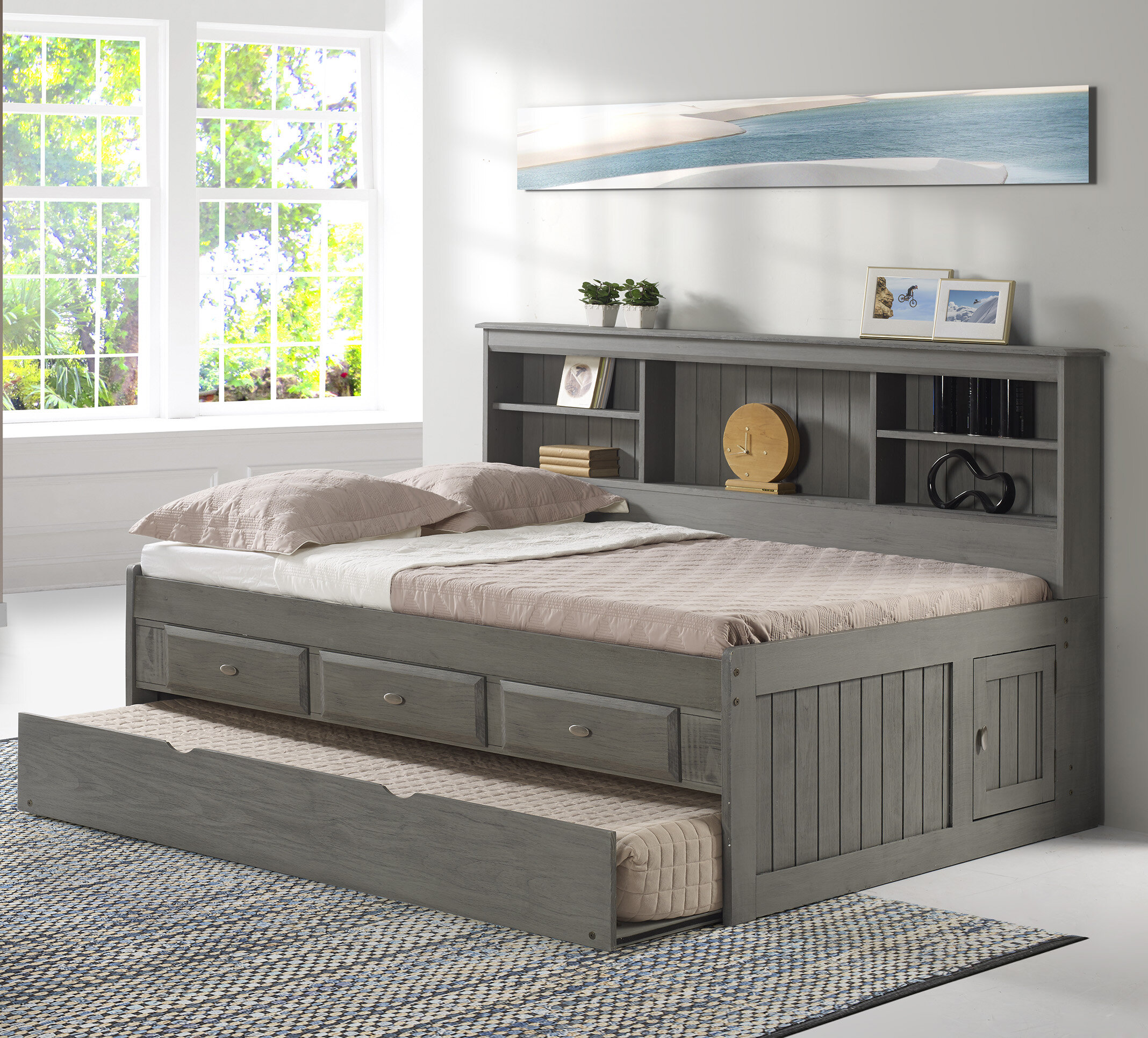 Gilbertson Charcoal Bookcase Daybed With 3 Drawers And Trundle