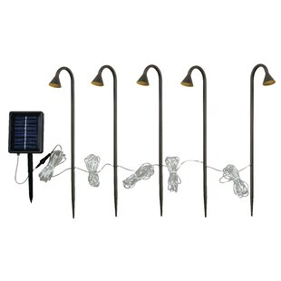 Wildon Home ® Solar 5 Light LED Pathway Light with Remote Panel
