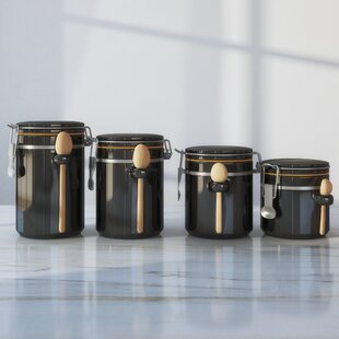 black white kitchen canisters jars you ll love wayfair rh wayfair com black canisters for kitchen australia