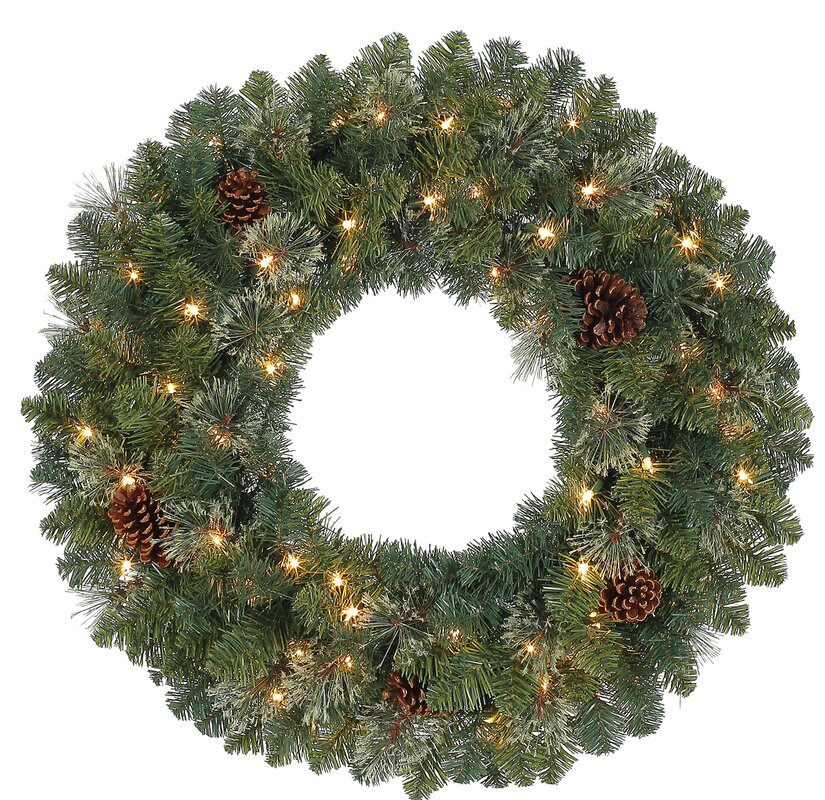 Pinecones Holiday 30 in. Lighted Plastic Wreath