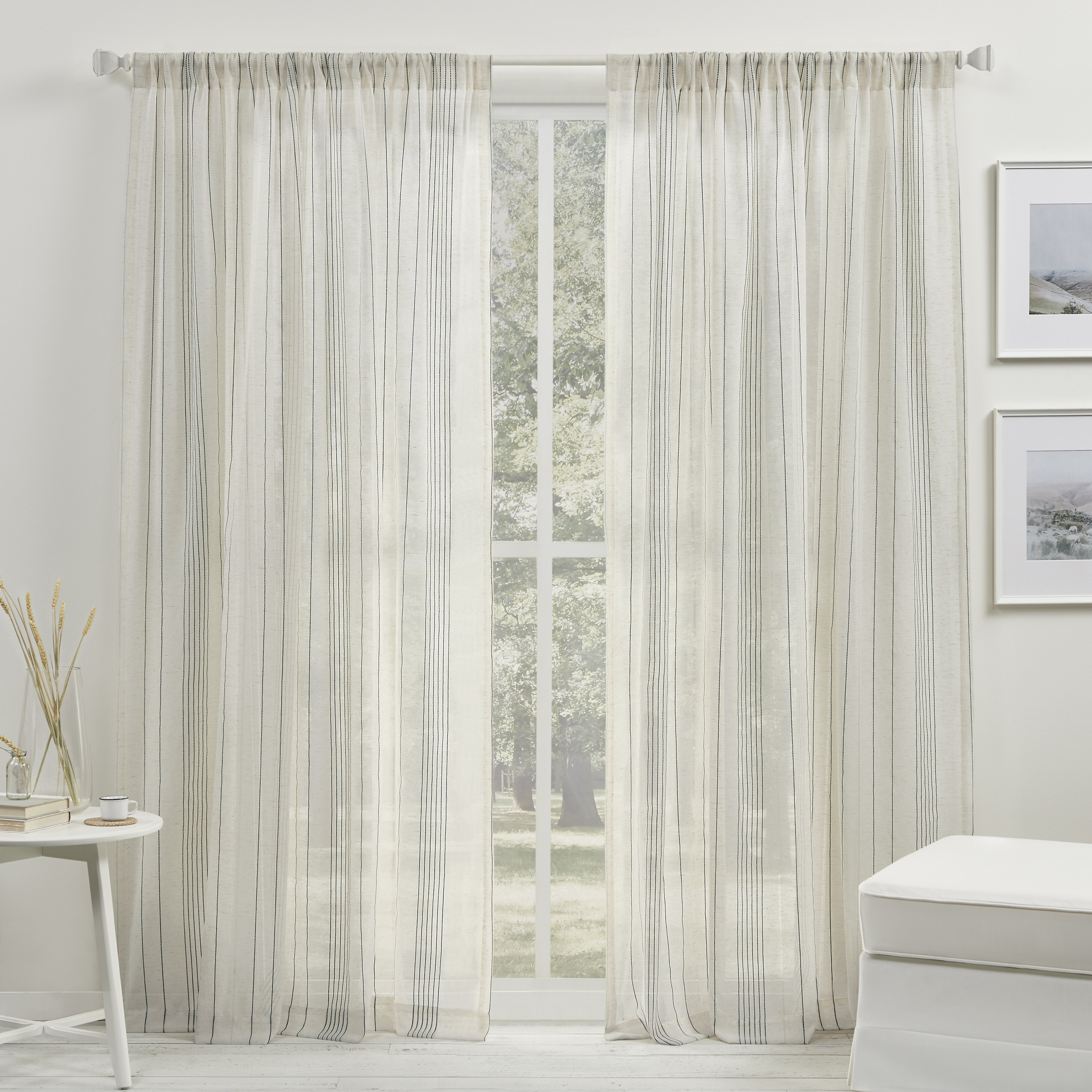 Lauren Ralph Lauren Cameron Striped Sheer Rod Pocket Single Curtain Panel Wayfair