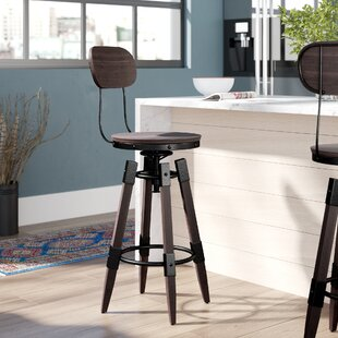 Bingaman Vintage Adjustable Height Swivel Bar Stool