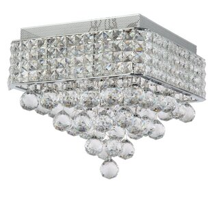 Ahlstrom 4-Light Crystal Shade Flush Mount by Everly Quinn