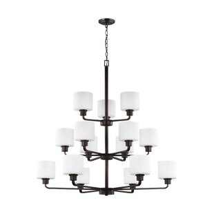 Winston Porter Yareli 15-Light Shaded Chandelier