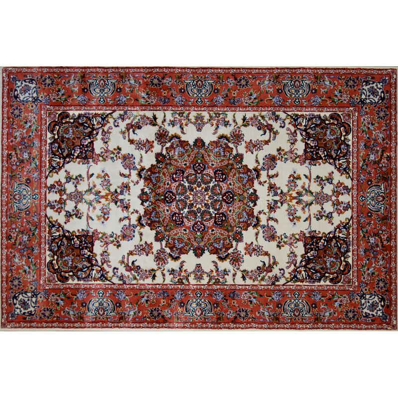 Astoria Grand Olivares Hand Look Persian Wool Ivory Red Blue Area Rug Wayfair