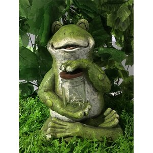 Frog Sitting with Fairy Lights in Jar Statue