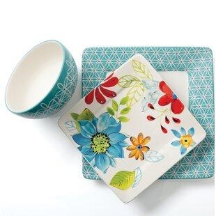 Nobile Square Hand Painted Durastone 12 Piece Dinnerware Set Service for 4  sc 1 st  Wayfair & Hand Painted Stoneware Dinnerware Set | Wayfair