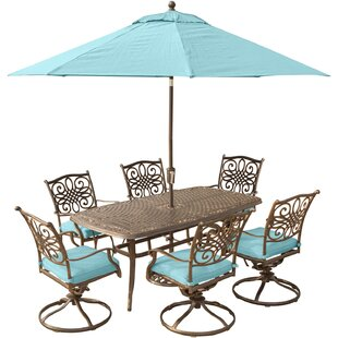 Carleton 7 Piece Dining Set with Cushions and Umbrella Stand