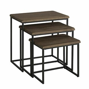 Solange Pine Wood and Metal 3 Piece Nesting Tables