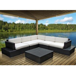 Port 6 Piece Rattan Sectional Set with Cushions