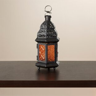 Affordable Wes Sunset Iron and Glass Lantern ByBungalow Rose