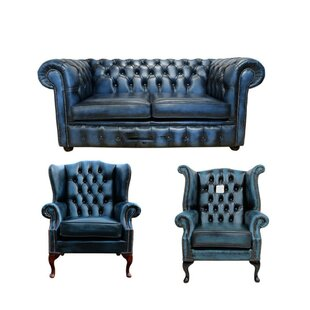 Lenny Chesterfield 3 Piece Leather Sofa Set By Williston Forge
