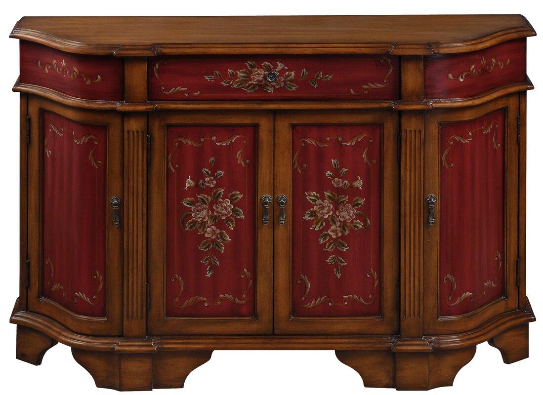 Ann mirror insert double door single drawer wooden corner cabinet - 1 Drawer 4 Door Accent Cabinet