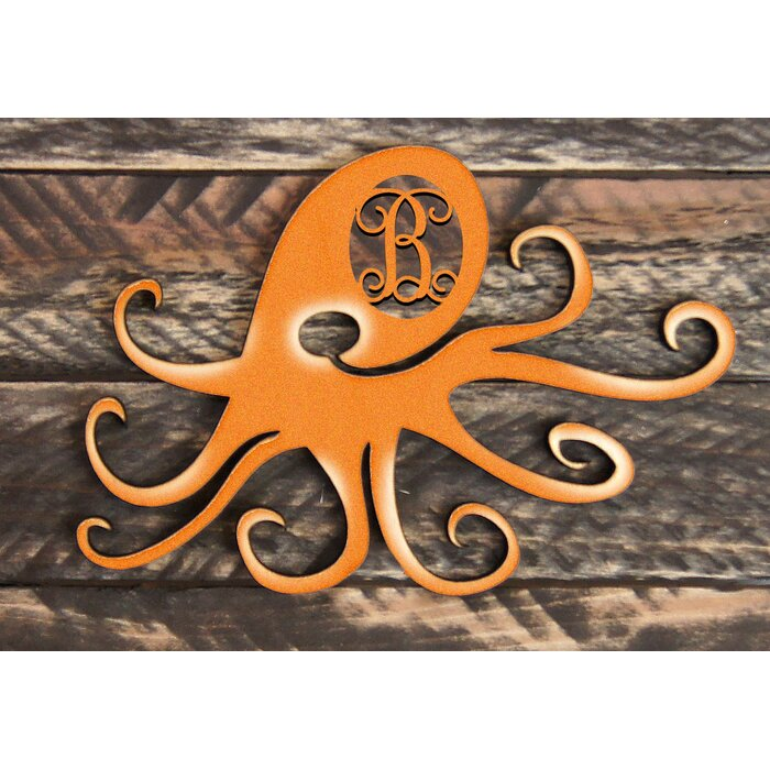 Octopus Vintage Rustic Single Letter Wooden Shape Wall Decor