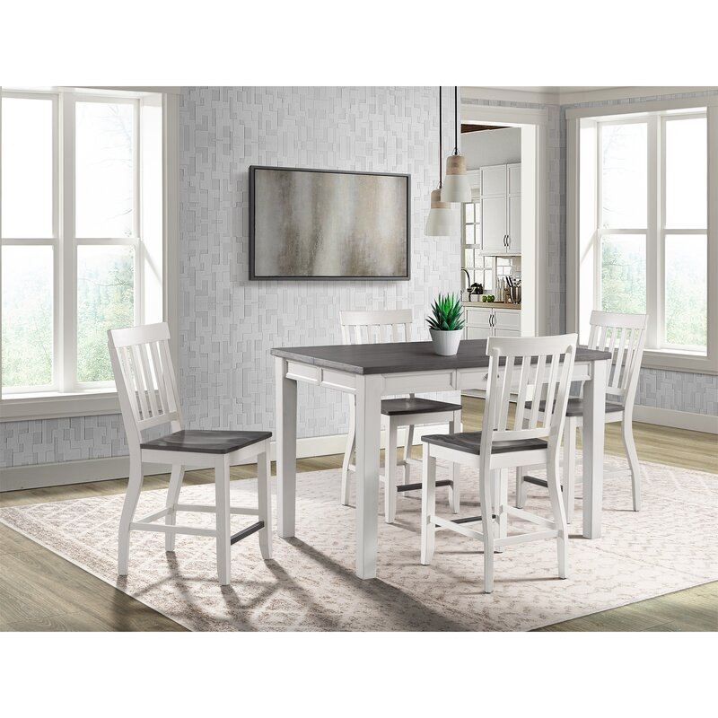 White Cane Outdoor Furniture, August Grove Reichard 5 Piece Counter Height Extendable Dining Set Reviews Wayfair