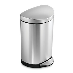 2.6 Gallon Semi-Round Step Trash Can, Brushed Stainless Steel by simplehuman