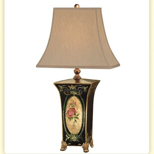 Cameo Rose Square Toile Hand Painted Wooden 29 Table Lamp