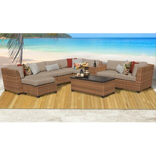 Best Medina 10 Piece Outdoor Sectional Seating Group with Cushions Compare & Buy