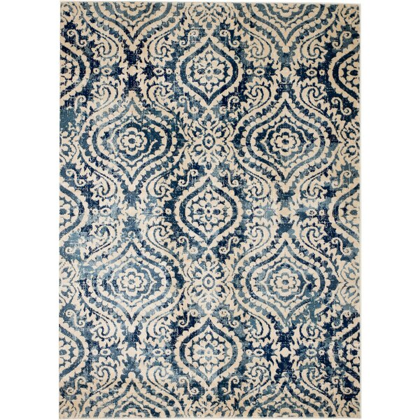 Bungalow Rose Amy Royal Trellis Cream/Blue Area Rug U0026 Reviews | Wayfair