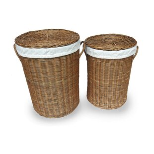 Darby Home Co 2 Piece Wicker Laundry Set with Lid
