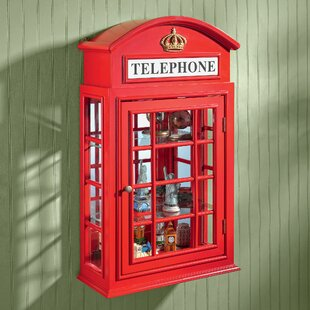 Design Toscano Piccadilly Circus British Telephone Booth Wall Curio Cabinet