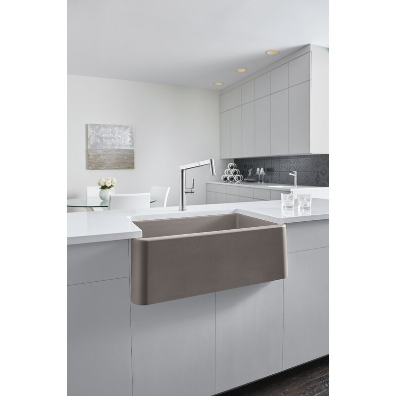 "Blanco Ikon 33"" L x 19"" W Farmhouse/Apron Kitchen Sink  Finish: Truffle"
