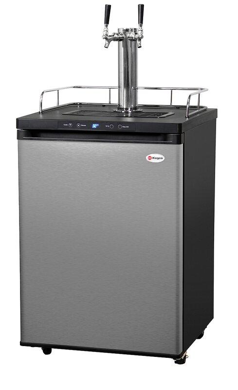Kitchen Island Kegerator kegco dual tap freestanding kegerator & reviews | wayfair