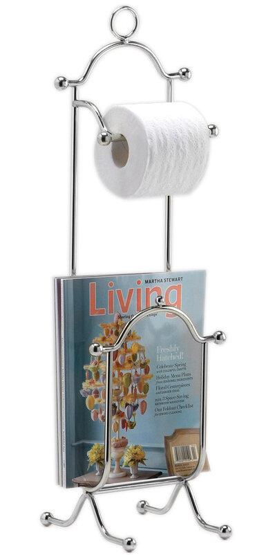 Freestanding Combination Magazine Rack And Toilet Paper Holder