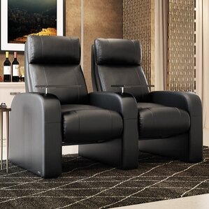 Modern Manual Rocker Recline Home Theater Row Seating (Row of 2) by Freeport Park
