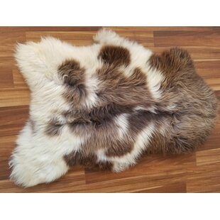 Great deal Arnett Spotted Sheepskin/Wool Brown/White Area Rug By Millwood Pines