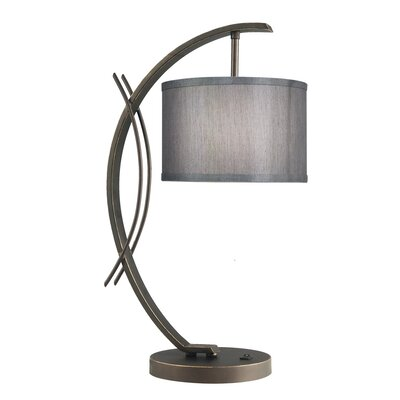 Brayden Studio Hulse 21.75 Drum Arched Table Lamp Shade Color: Grey, Base Finish: Bronze