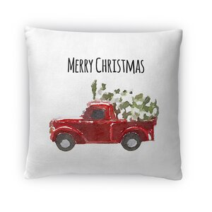 Christmas Truck Fleece Throw Pillow