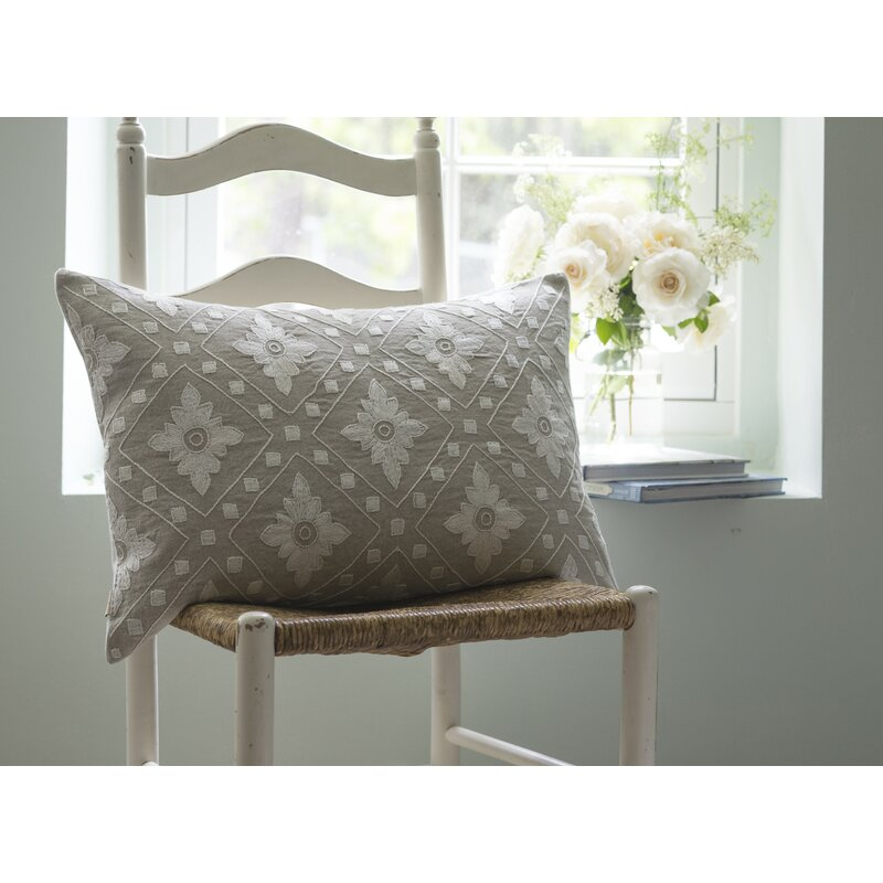 Linnea Embroidered Linen Lumbar Pillow