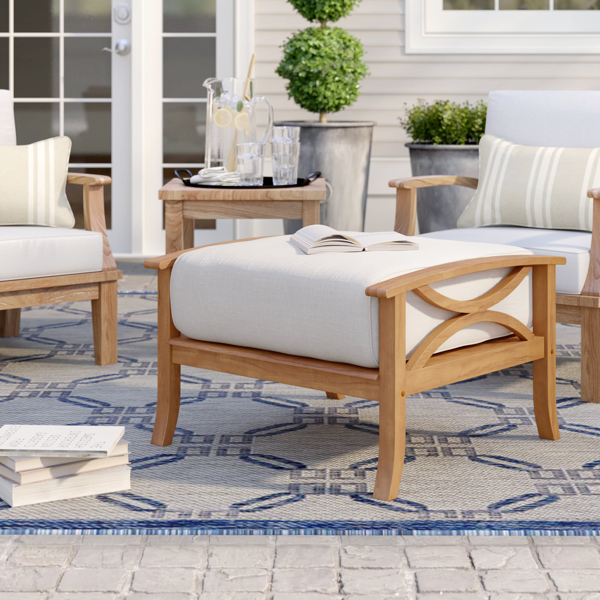 Birch Lane Brunswick Outdoor Teak Ottoman With Cushion Reviews Wayfair