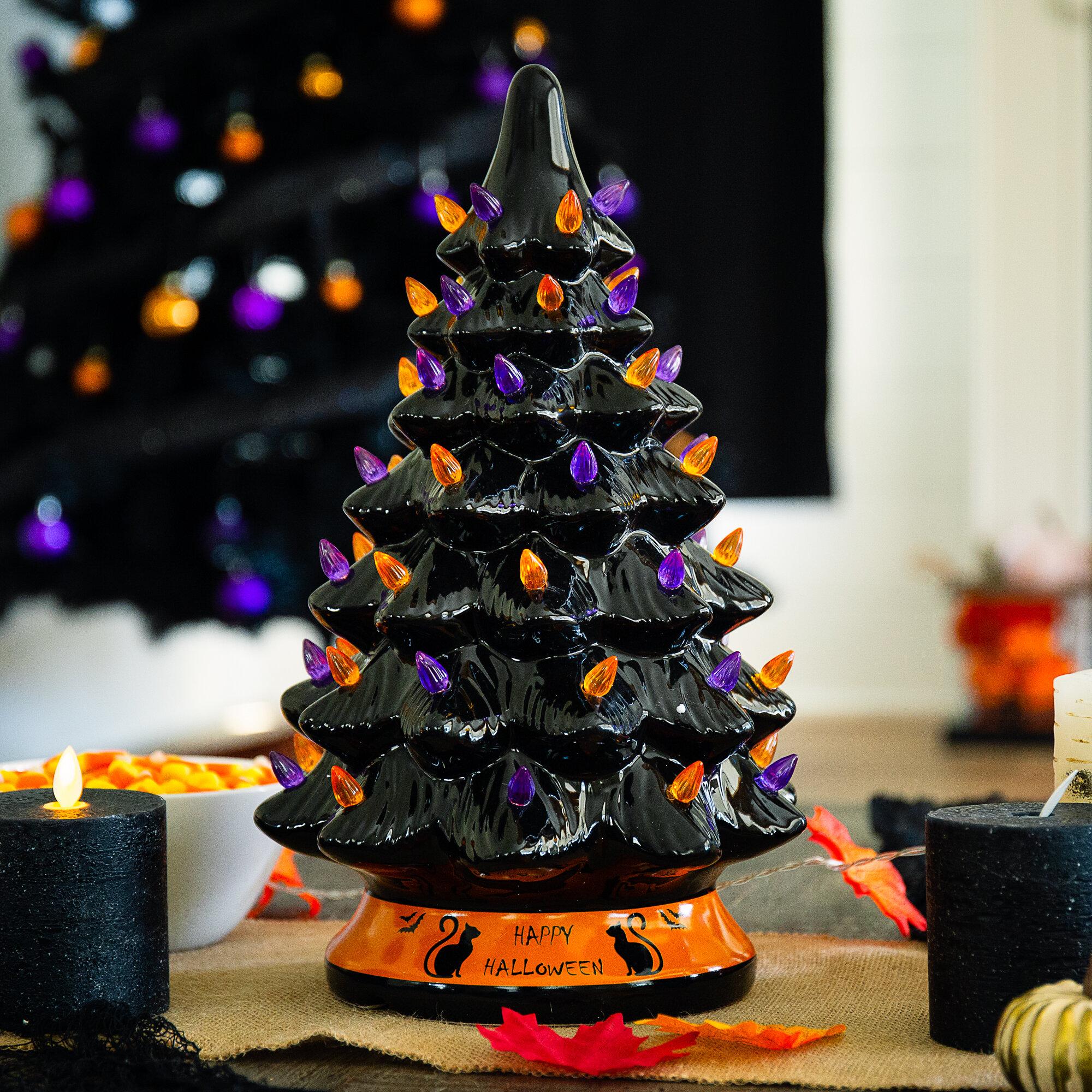 The Holiday Aisle Pre Lit 15in Ceramic Halloween Tree Holiday Decoration W Orange Purple Bulb Lights Reviews Wayfair