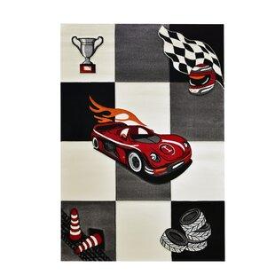 Cars Grey/Red/Black Rug by Merinos