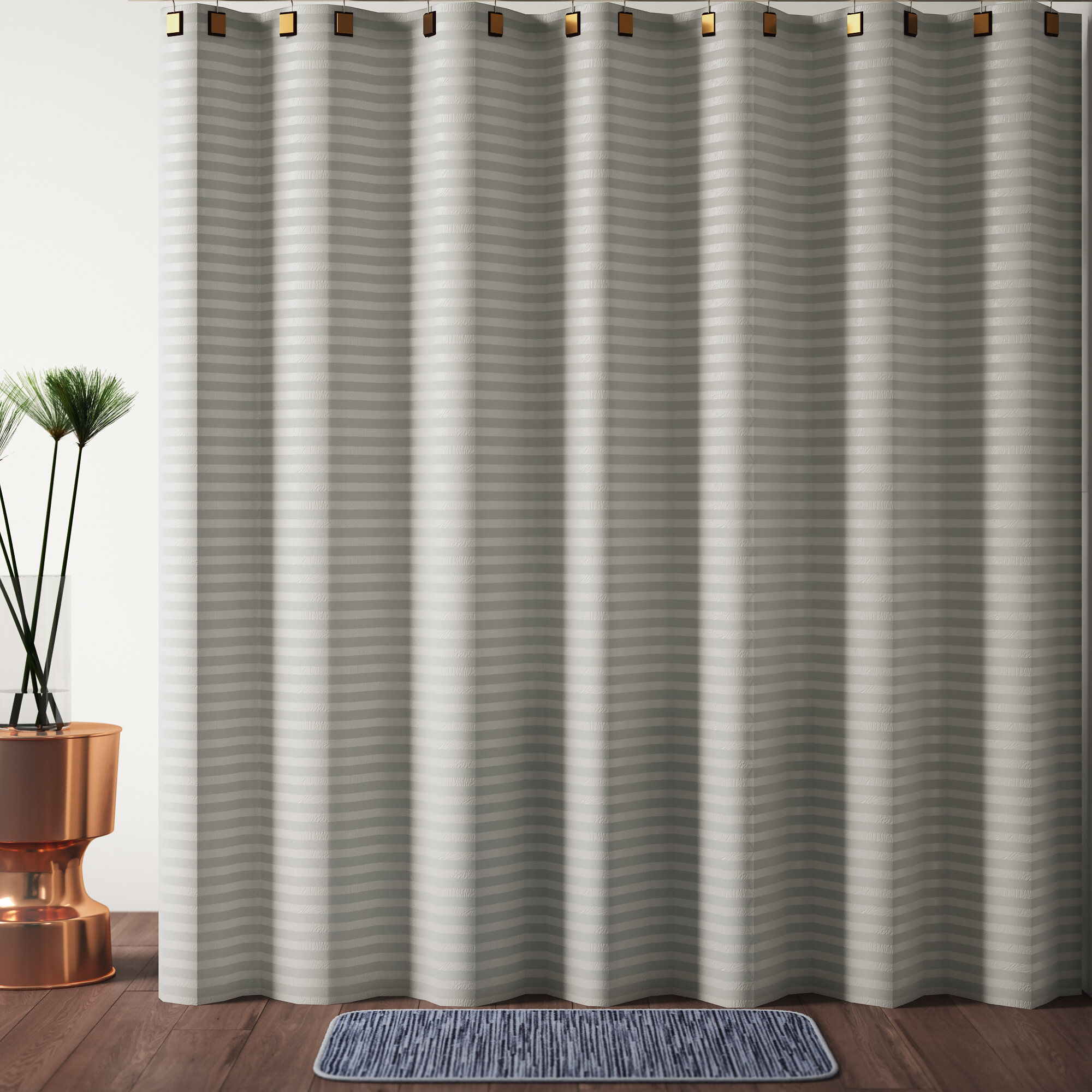 Highpoint Textured Stripes 100 Cotton Single Shower Curtain
