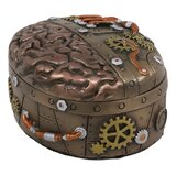 Ebros Vintage Antique Design Steampunk Brain Ai Robotic Cyborg Control Centre Jewellery Stash Box Figurine With Sculpted Gearwork Gas Pipe Chamber Network Victorian Sci Fi Halloween Home Decor Statue