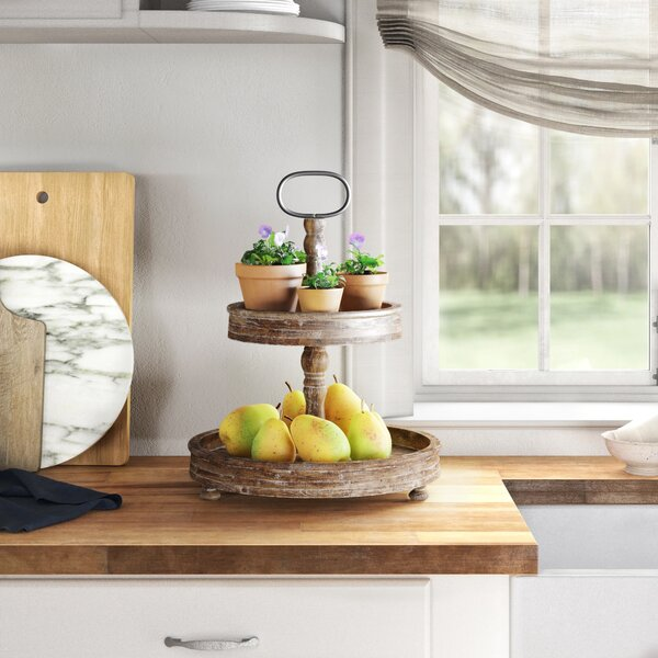 2 Tiered Wooden Tray Wayfair