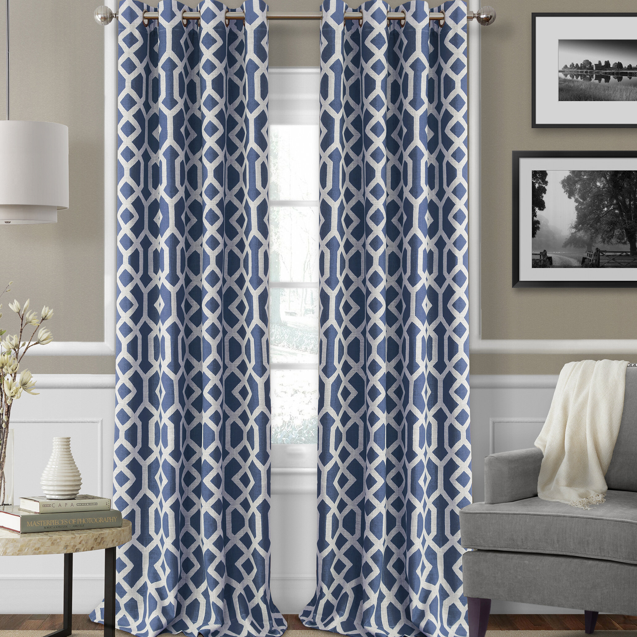 and drapes drapery pinterest the love button pleats dusty trim pin denim blue