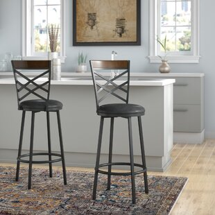 Liesl Adjustable Height Swivel Bar Stool (Set of 2) by Millwood Pines